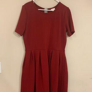 LuLaRoe Maroon Amelia Dress with Pockets